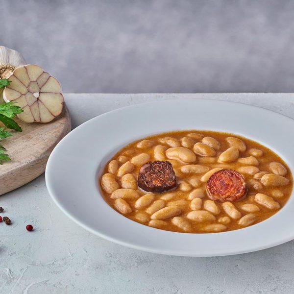 Presentación Fabada asturiana en plato de microondas - ROGUSA