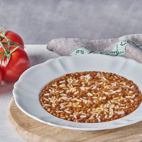 Presentación Lentejas con arroz en plato de microondas - ROGUSA