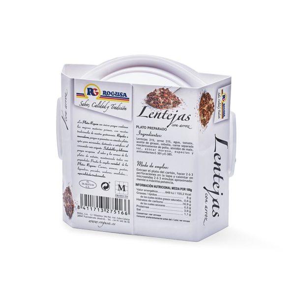 Lentejas con arroz en plato de microondas - ROGUSA