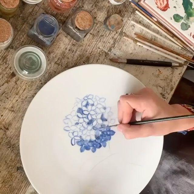 menaje pintado a mano